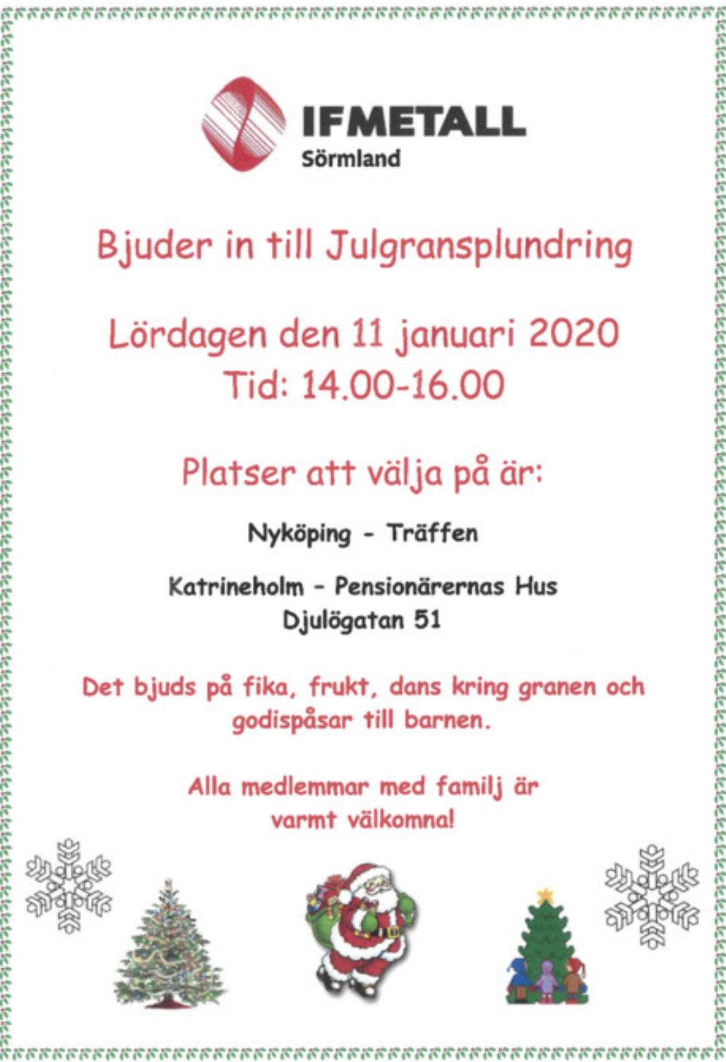 IF Metall Sörmland Bjuder In Till Julgransplundring
